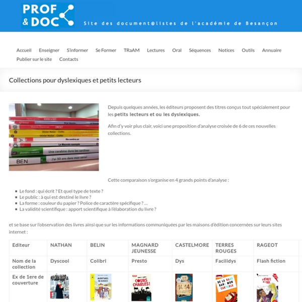 Collections pour dyslexiques et petits lecteurs