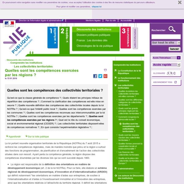 Quelles sont les compétences exercées par les régions ? - Quelles sont les compétences des collectivités territoriales