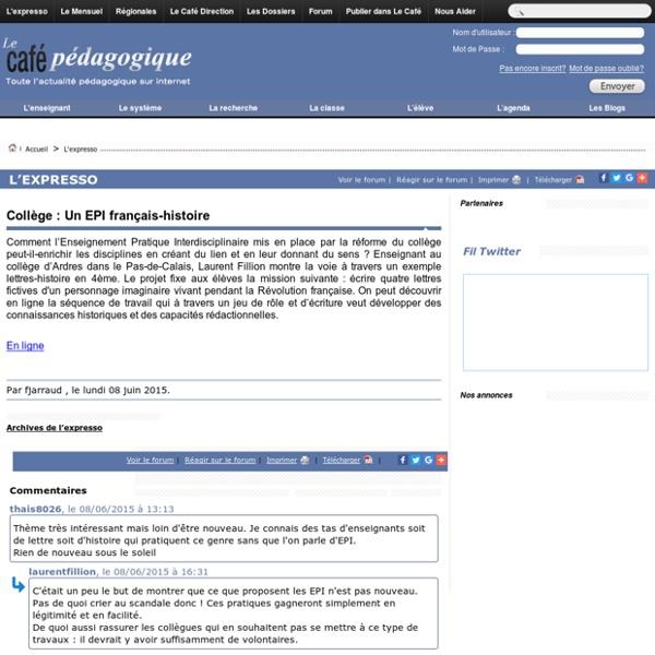 Collège : Un EPI français-histoire