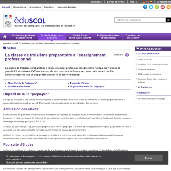 3ème Prépa Pro : la 3ème préparatoire aux voies professionnelles