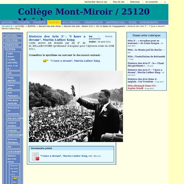 "Collège Mont-Miroir / 25120 Maîche - Histoire des Arts 3° : ""I have a dream"", Martin Luther King"