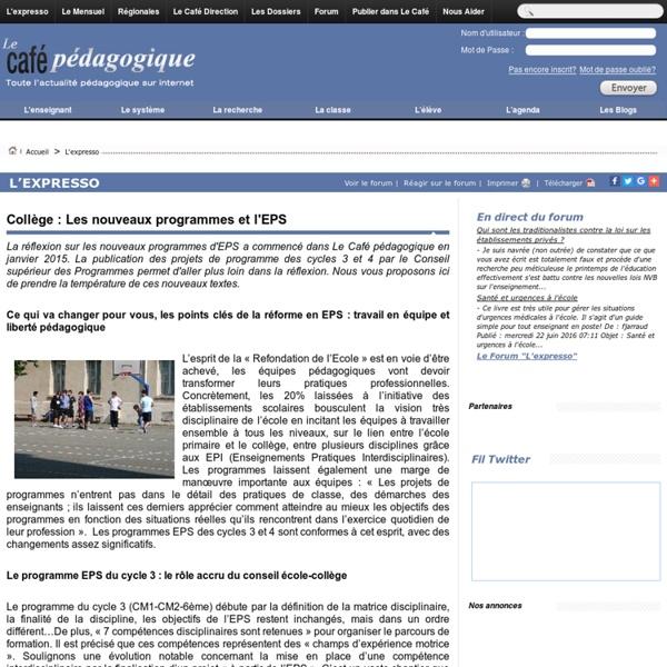 Collège : Les nouveaux programmes et l'EPS