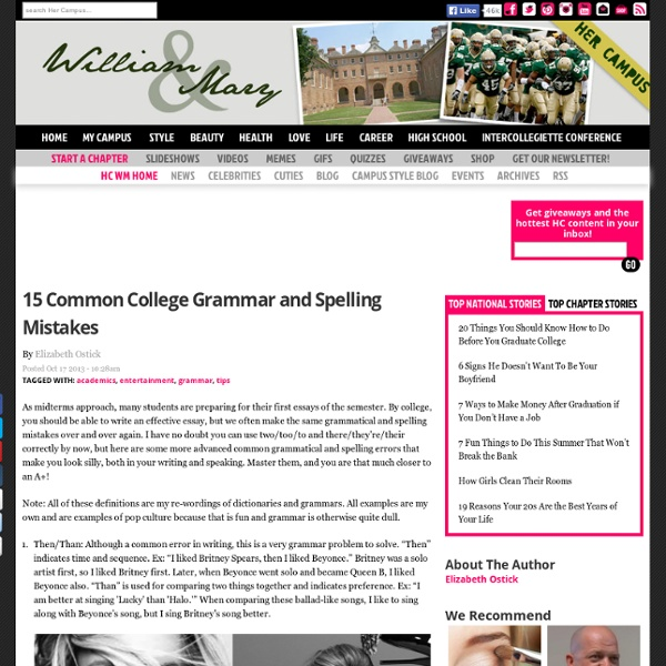 15 Common College Grammar and Spelling Mistakes