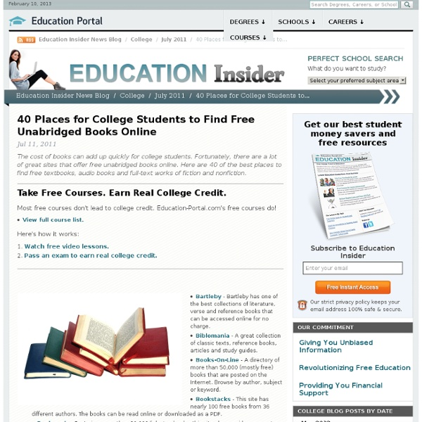 40 Places for College Students to Find Free Unabridged Books Online