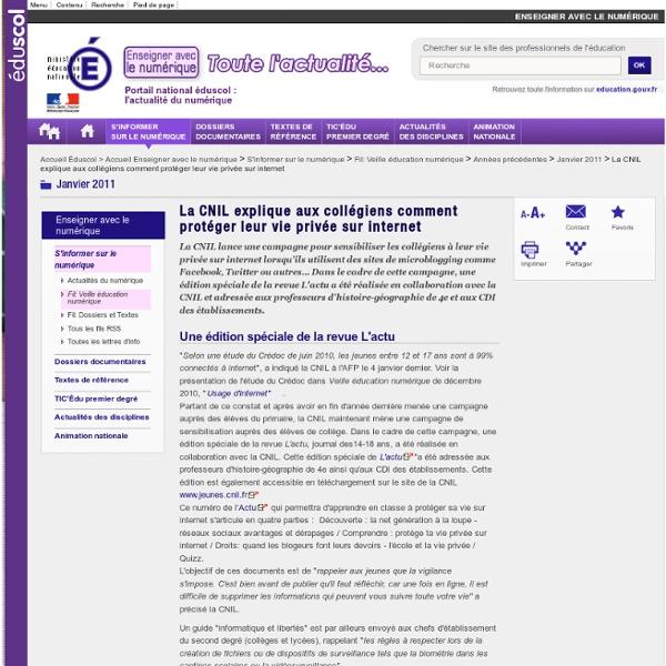 La CNIL explique aux collégiens comment protéger leur vie privée sur internet — Éducnet
