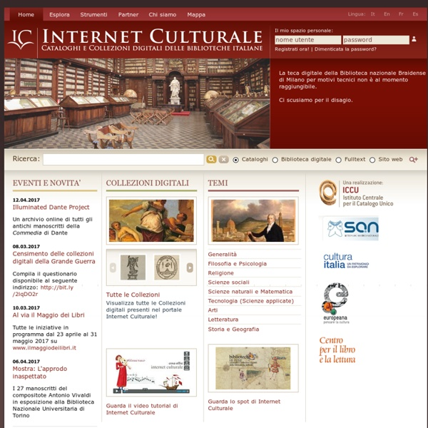 Internet Culturale: cataloghi e collezioni digitali delle biblioteche italiane