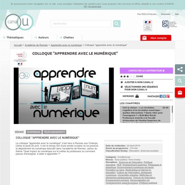 """Colloque """"apprendre avec le numérique"""" - Académie de Rennes"""