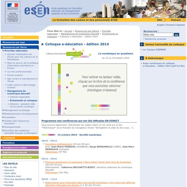 Colloque e-éducation - édition 2014