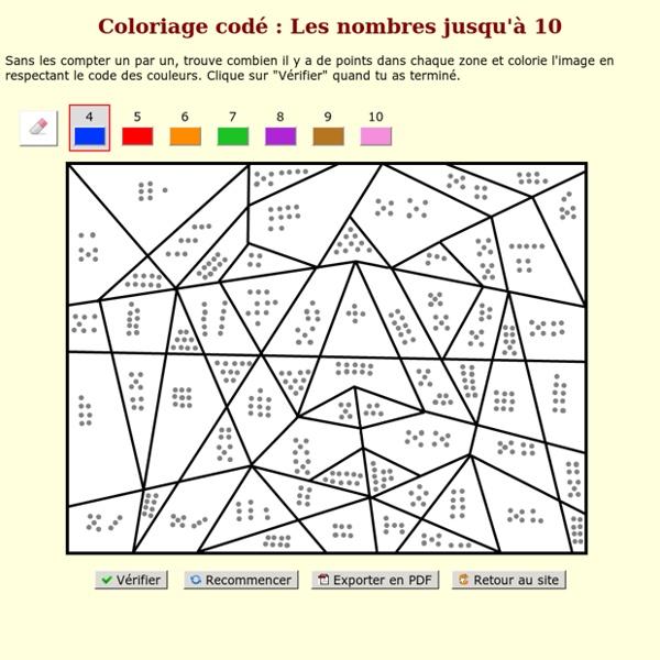 Coloriage codé : Les nombres jusqu'à 10