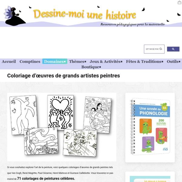 71 coloriages d'œuvres d'artistes peintres à imprimer.
