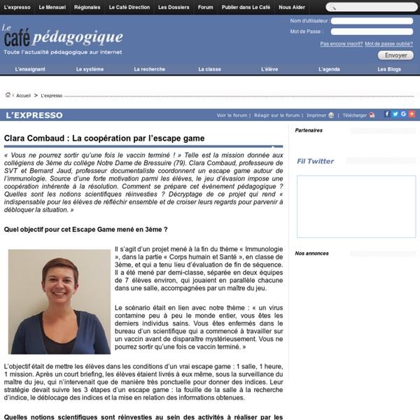 Clara Combaud : La coopération par l'escape game