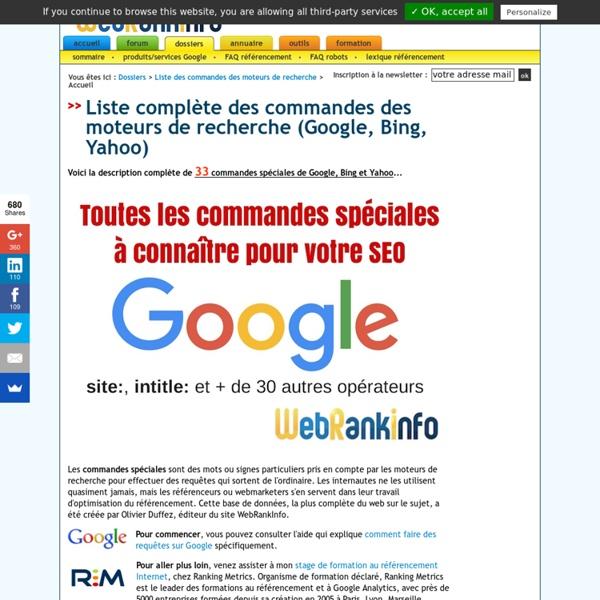 Toutes les commandes spéciales de Google, Bing (opérateurs de recherche)