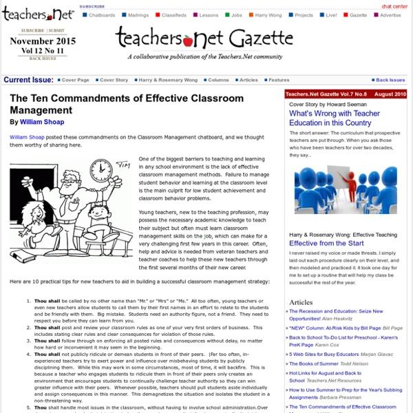 The Ten Commandments of Effective Classroom Management