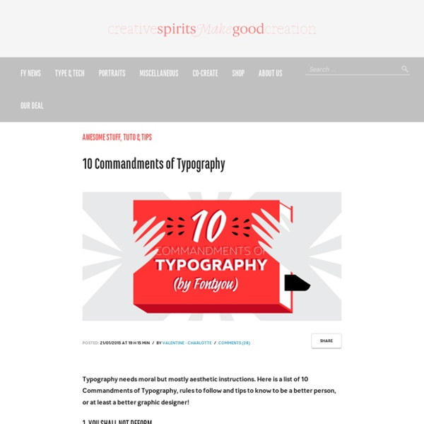 10 Commandments of Typography by Fontyou