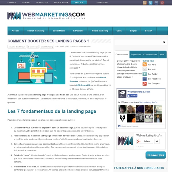 Comment booster ses landing pages ?