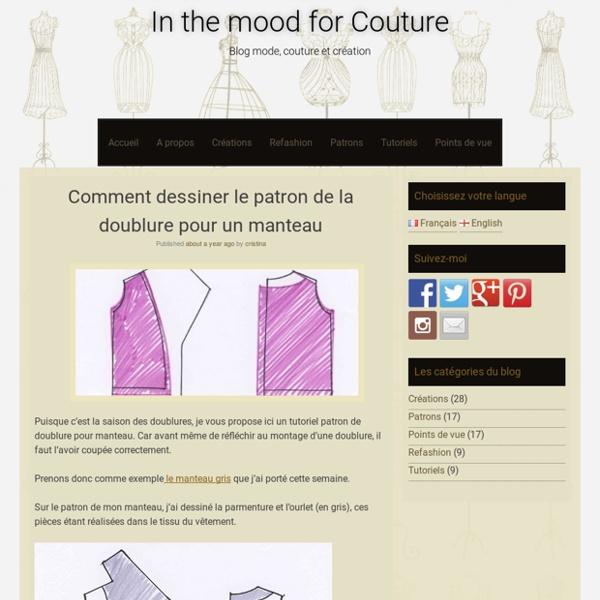 Comment dessiner le patron de la doublure pour un manteau - In the mood for Couture