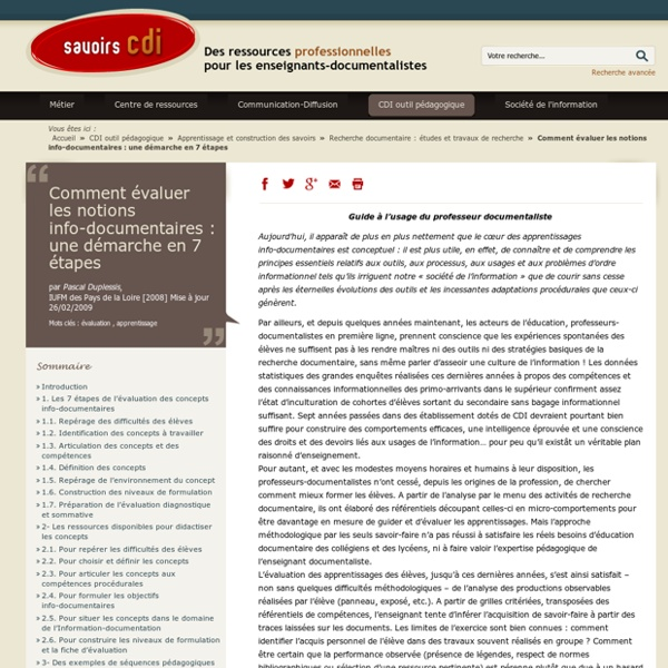 Savoirs CDI: Comment évaluer les notions info-documentaires : une démarche en 7 étapes