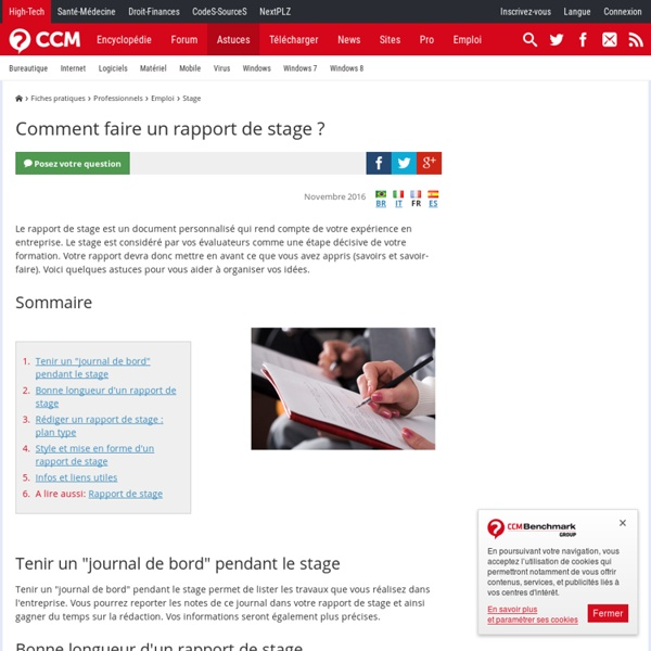 Comment faire un rapport de stage ?