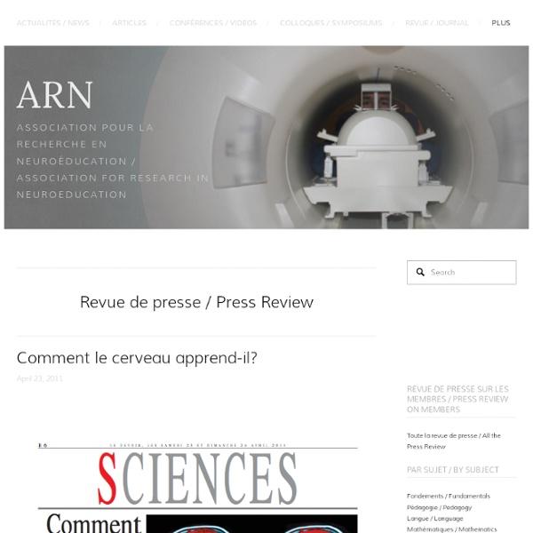 Comment le cerveau apprend-il? — ARN