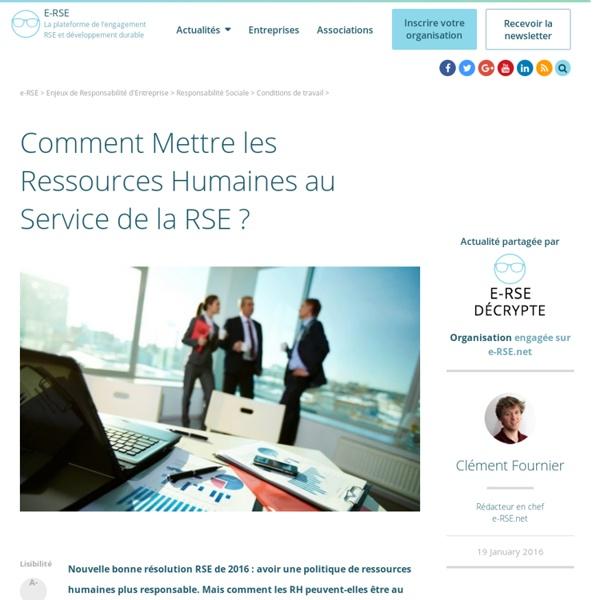 Comment Mettre les RH au Service de la RSE ?
