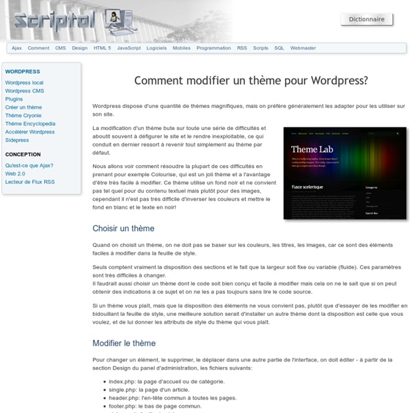 Comment modifier un thème pour Wordpress?