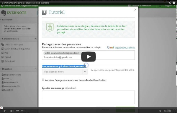 Comment partager un carnet de notes evernote