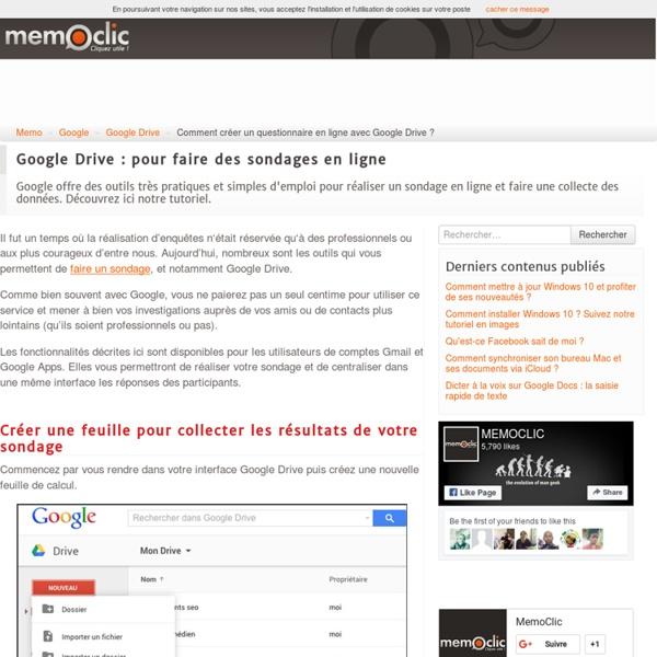 Comment créer un questionnaire en ligne avec Google Drive ?
