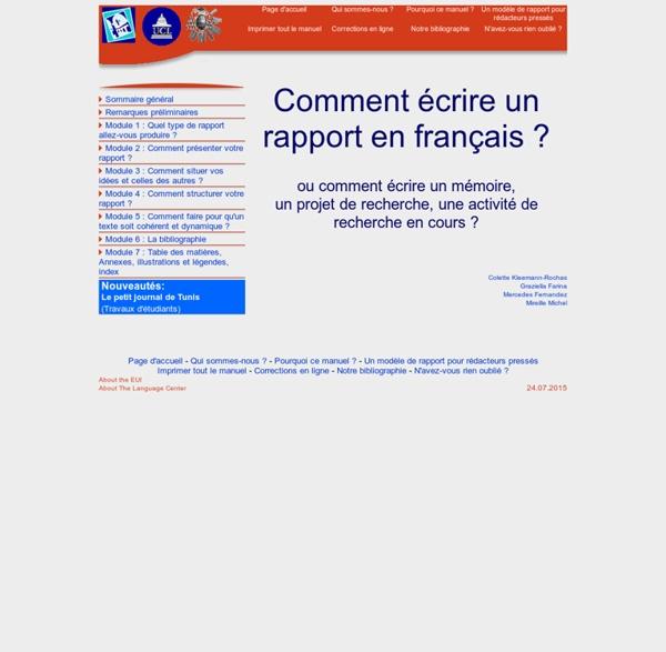 IUE Comment écrire un rapport en français ?