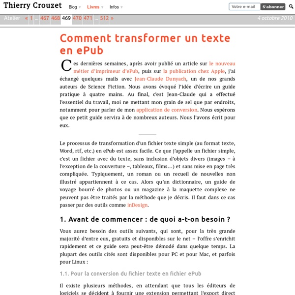 Comment transformer un texte en ePub