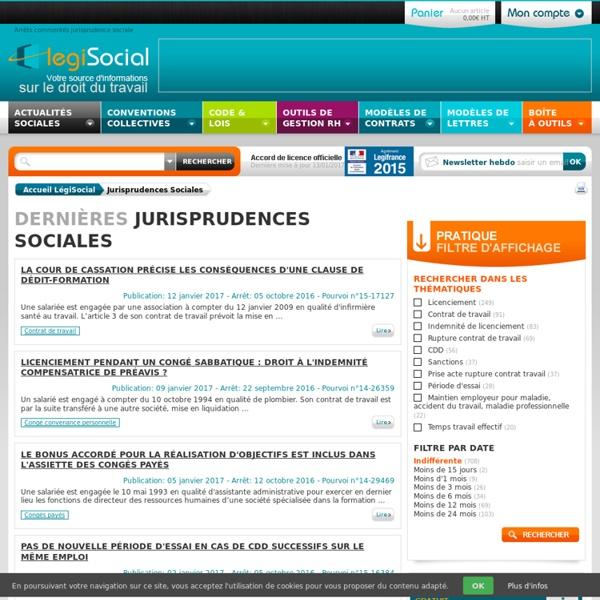 Arrêts commentés jurisprudence sociale droit du travail