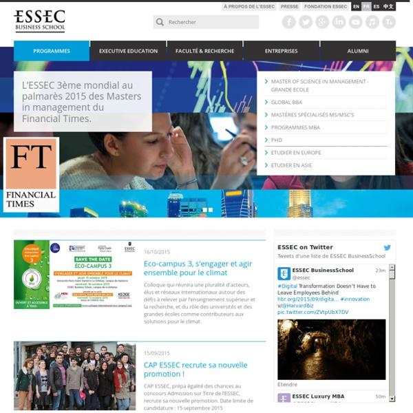 ESSEC, Grande Ecole de Commerce : MBA, BBA, post-bac, mastères spécial