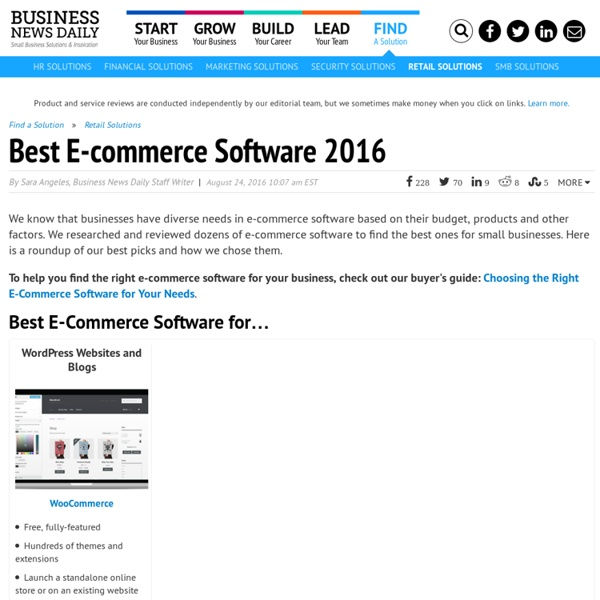 Best E-Commerce Software for Small Businesses - 2015 Edition