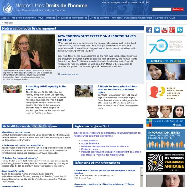 Haut-Commissariat aux droits de l'homme / Page d'accueil