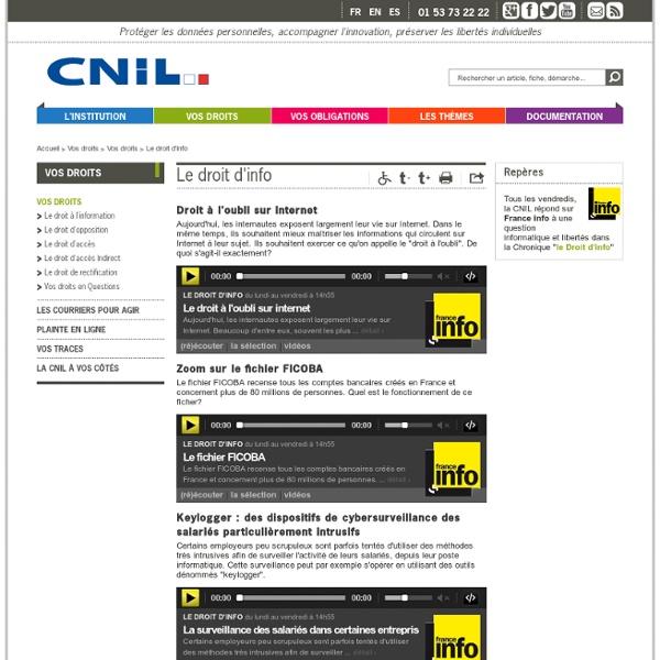 DROITS info Internet :Fichiers AUDIO de la CNIL