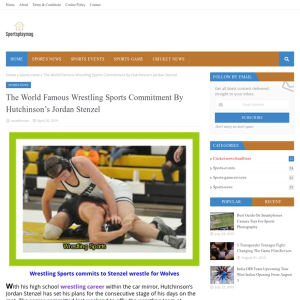 The World Famous Wrestling Sports Commitment By Hutchinson's Jordan Stenzel