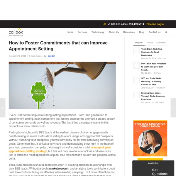 How to Foster Commitments that can Improve Appointment Setting