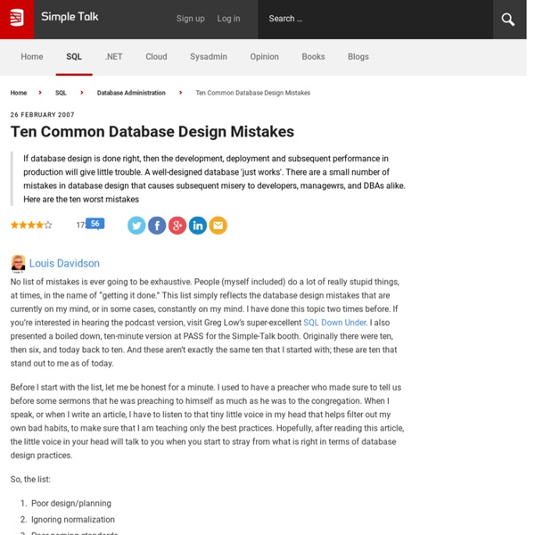 Ten Common Database Design Mistakes