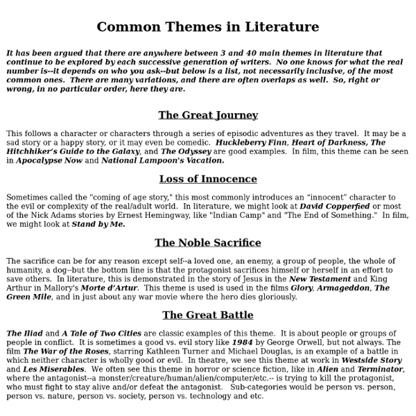 Common Themes in Literture