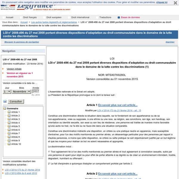 2008-496 du 27 mai 2008 portant diverses dispositions d'adaptation au droit communautaire dans le domaine de la lutte contre les discriminations