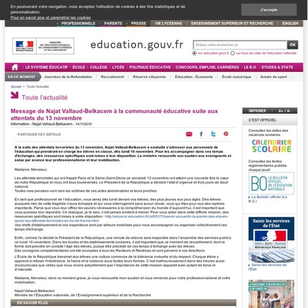 Message de Najat Vallaud-Belkacem à la communauté éducative suite aux attentats du 13 novembre