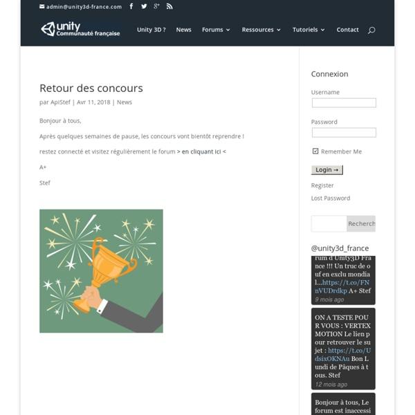Communauté française du logiciel Unity 3D