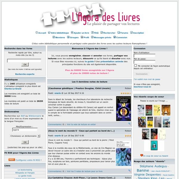 Communauté de lecteurs francophones pour partager le plaisir de lire