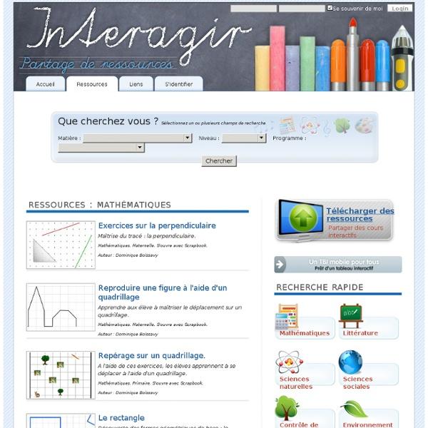 Ressources - Interagir, ressources éducatives
