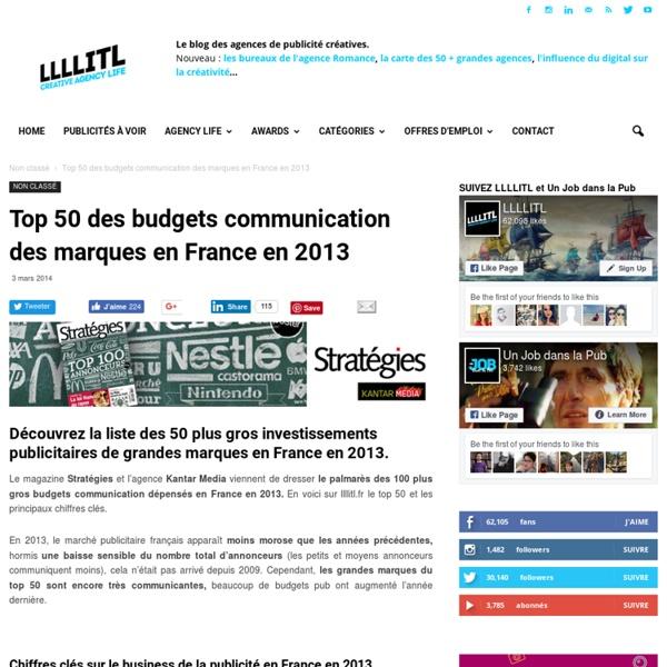 Top 50 des budgets communication des marques en France en 2013