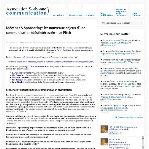 Mécénat & Sponsoring : les nouveaux enjeux d'une communication (dés)intéressée – Le Pitch - Association Sorbonne Communication