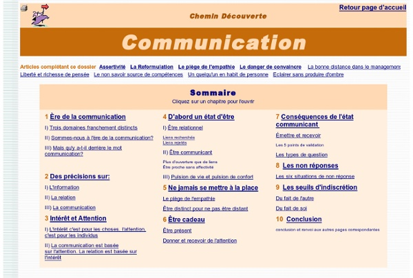 DECOUVERTE DE LA COMMUNICATION. Relations humaines, développement personnel, vie quotidienne (page de menu pour accéder au texte de votre choix)