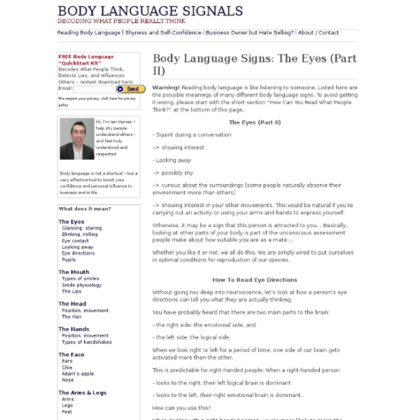 Body Language Signals: Eye Directions, Pupils
