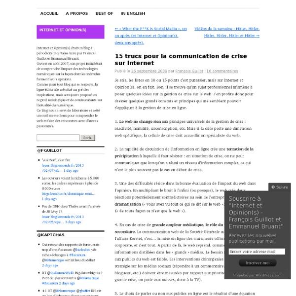 15 trucs pour la communication de crise sur Internet « internet et opinion(s) – françois guillot et emmanuel bruant – web, médias, communication, influence, etc.