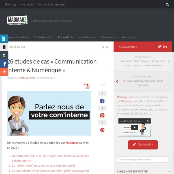 """25 études de cas """"Communication interne & Numérique"""""""