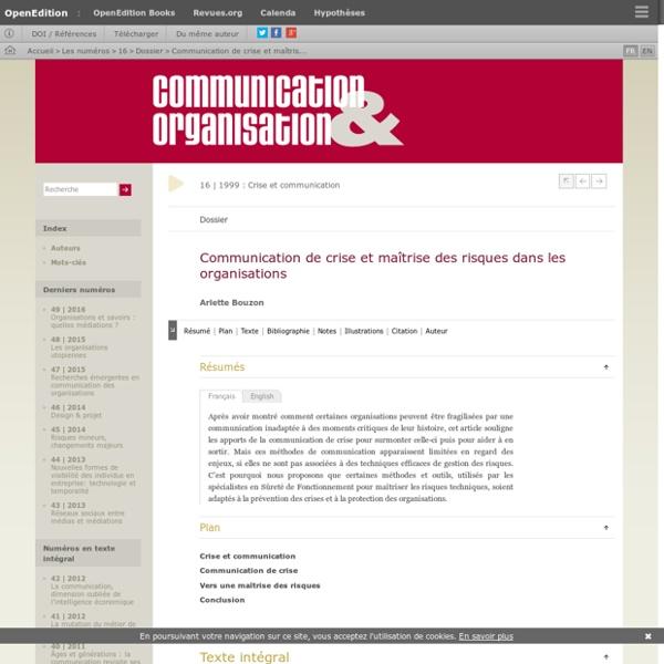 Communication de crise et maîtrise des risques dans les organisations